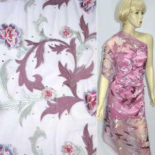 Сітка рожева з сріблястою вишивкою, квітами і паєтками, ш.130