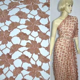 Сетка светло-коричневая с крупными цветами, ш.125 см