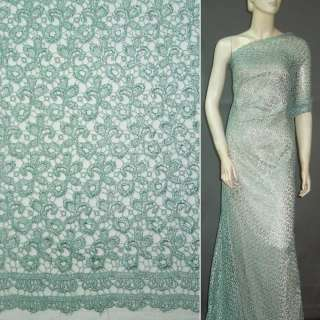 Кружевное полотно зелено-серое ш.135