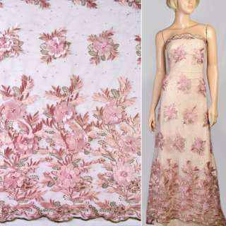 Мереживо на сітці рожеве з нашитими квітами, стразами і перлинами, облямівка, ш.125