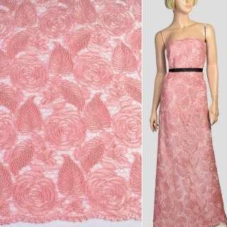 Кружево на сетке розовое, вышитые розы, двухсторонняя кайма, ш.128