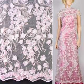 Мереживо на сітці рожеве з нашитими квітами, паєтками та перлинами, ш.130