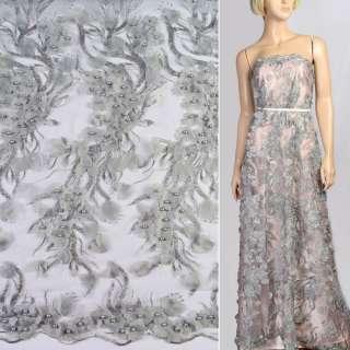 Мереживо на сітці сіре з нашитими квітами, паєтками та перлинами, ш.128