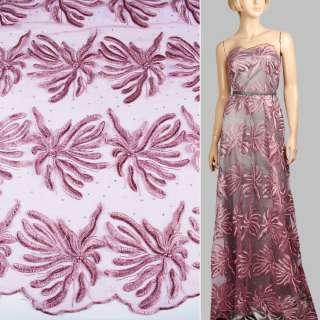 Кружево на сетке с бусинами, стразами сиреневое в большие цветы, 2ст.купон ш.135