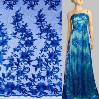 Мереживо на сітці з намистинами синє ультра в букети квітів, 1ст.купон ш.136