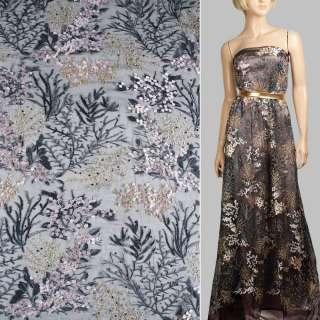 Мереживо на сітці чорне, рожеві квіти, сіро-золоті гілки, кольорові стрази ш.120