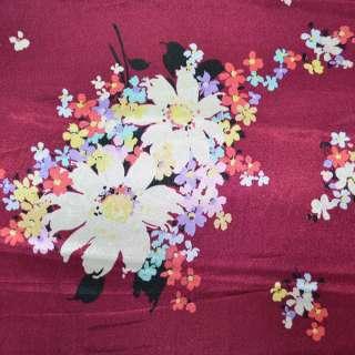 Атлас вишневый с цветами