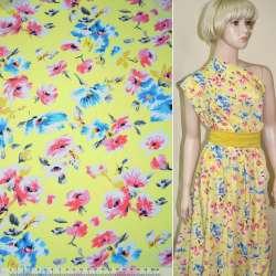 Купра диллон желтая с розово-синими цветами ш.150