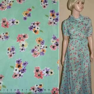 Купра диллон голубая с мелкими цветами ш.150