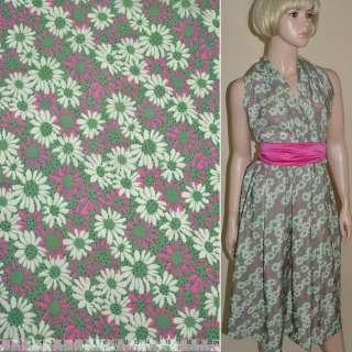 Купра Діллон зелена з молочно-рожевими квітами ш.150