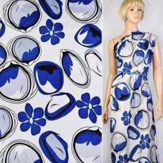 Купра белая в синие цветы и круги ш.145