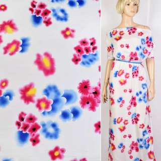 Купра белая в голубые и малиновые цветы ш.140