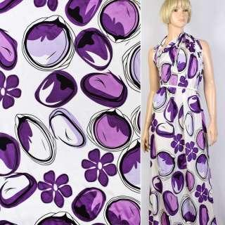 Купра белая в черно-фиолетовые цветы и круги ш.145