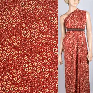 Купра диллон терракотовый красный с точками и кляксами ш.150