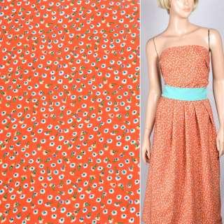 Купра диллон оранжево красная с мелкими цветами ш.150
