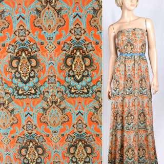 Купра диллон оранжевая с коричнево голубым орнаментом ш.150