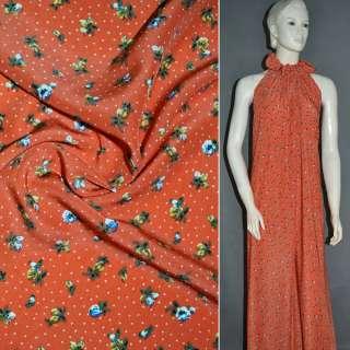 Купра диллон красно оранжевый с цветами и белыми точками ш.150