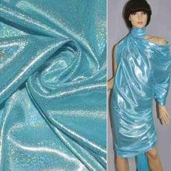 Трикотаж голубой с серебристой голограммой ш.150