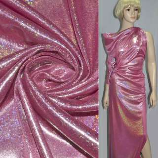 Трикотаж ярко-розовый с серебряной точечной голограммой ш.150