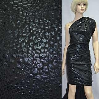 Трикотаж черный со штампом принт леопард ш.150