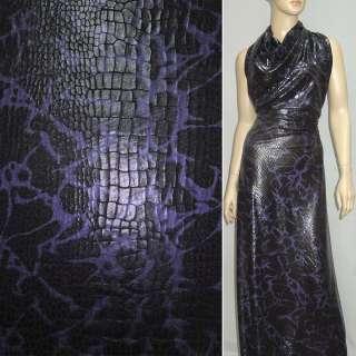 Трикотаж чорний з фіолетово-сірим принтом рептилія ш.150