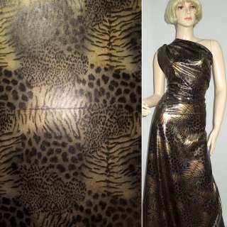 Трикотаж чорний з коричнево-сірим принтом леопард ш.150