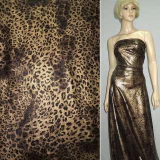 Трикотаж чорний зі світло-коричневим принтом леопард ш.150