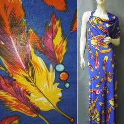 Микролайкра светло-фиолетовая с цветными перьями ш.160