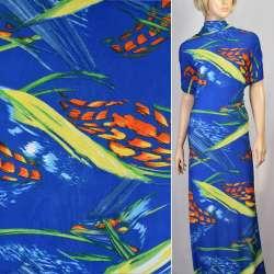 Микролайкра синяя с оранжево-желтой абстракцией ш.160