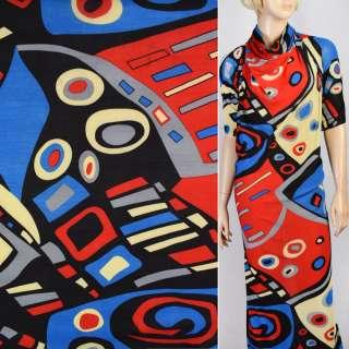 Микролайкра черно голубые красно желтые квадраты и овалы ш.160