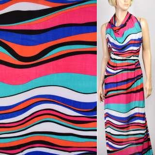 Микролайкра в красно-черно-бирюзово-синие полосы волна ш.166