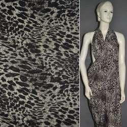 Мікролайкра пісочна з чорним принт леопард ш.160