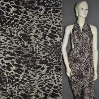 Микролайкра песочная с черным принт леопард ш.160
