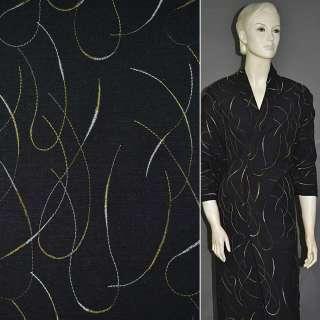 Льон костюмний чорний з вишивкою