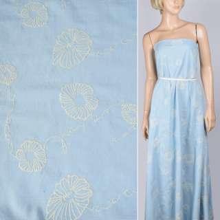 Льон костюмний блакитний світлий з молочної вишивкою