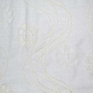 Льон костюмний білий з кремовою вишивкою