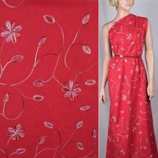 Льон червоний вишитий квітами і бутонами