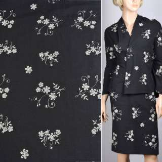 Льон костюмний чорний з білою вишивкою. ш.140