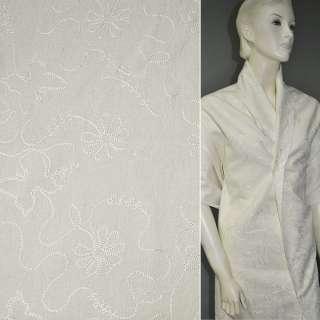 Льон костюмний молочний з вишивкою, ш.140