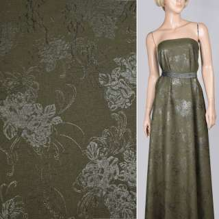 Льон зелений темний з вишивкою і сріблястим малюнком, ш.140