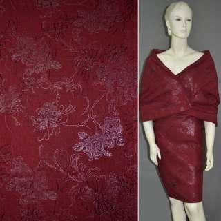 Льон червоний темний з вишивкою і сріблястим малюнком, ш.140
