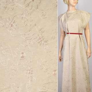 Льон пісочний з вишивкою і сріблястим малюнком, ш.140