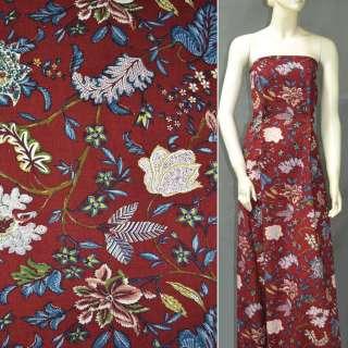 Льон червоний з квітковим малюнком, сине і бордове листя, золоте напилення