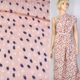Льон рожевий в синьо-білий тюльпан ш.143