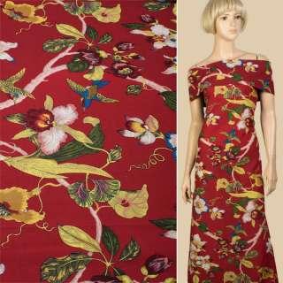 Лен красный, красные, бежевые орхидеи, колибри, ш.150