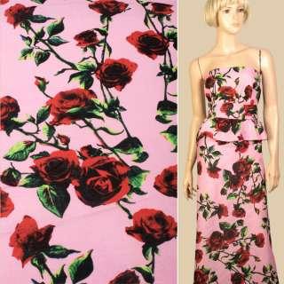 Лен розовый в красные розы, ш.145