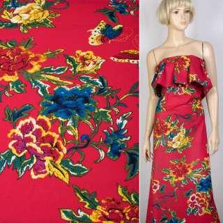 Лен малиновый в желто-красные, синие цветы, бабочки, ш.145