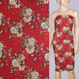 Льон червоний в бежево-рожеві квіти ш.140