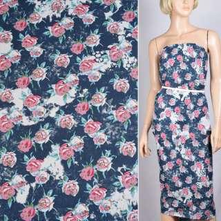 Льон синій з білим в рожеві троянди ш.140