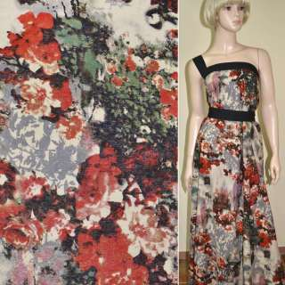 лен бежево-серый с красными цветами ш.147